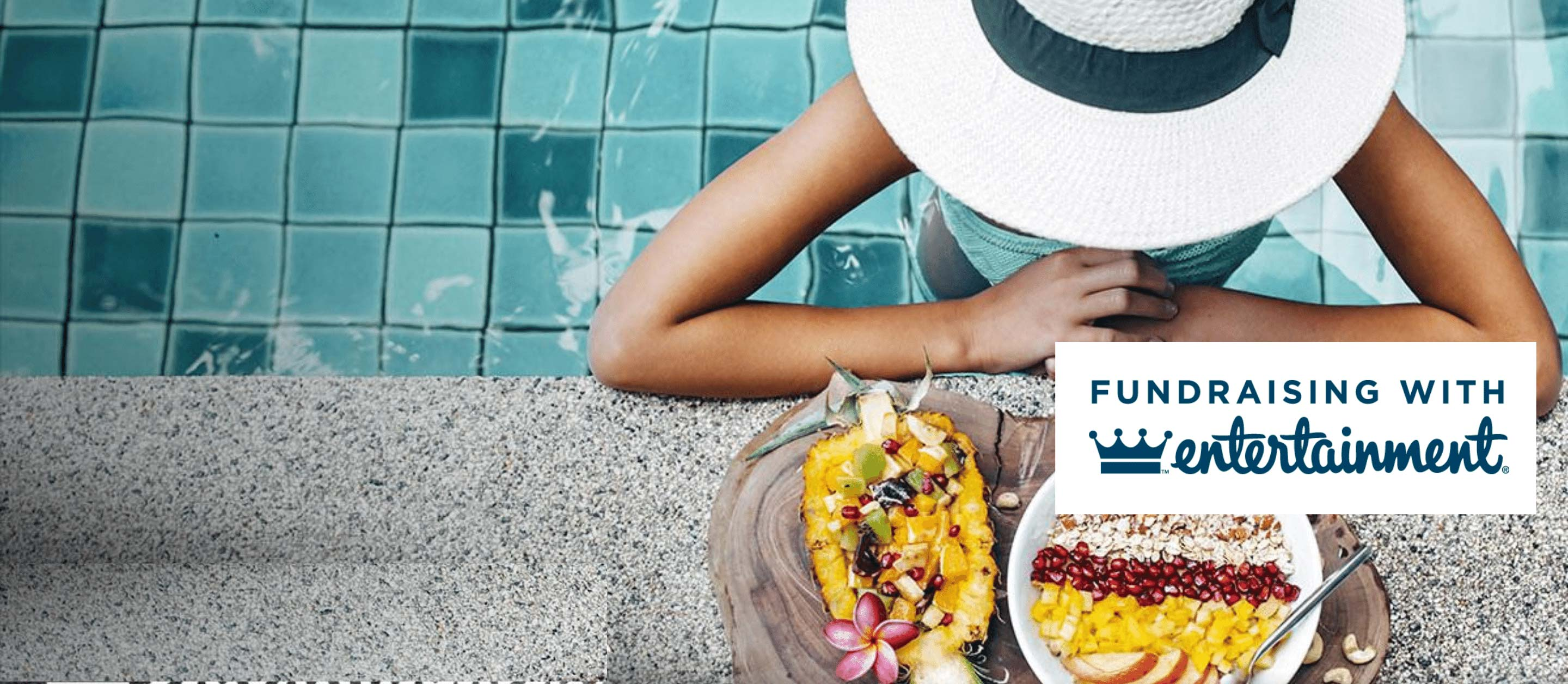 Lady looking at fresh food served poolside