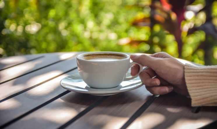 Hand holding cup of coffee in sunny green garden