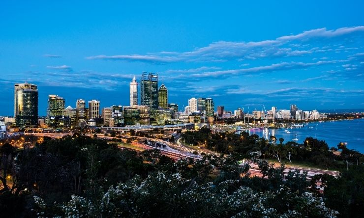 Image of Kings Park and Perth City at night