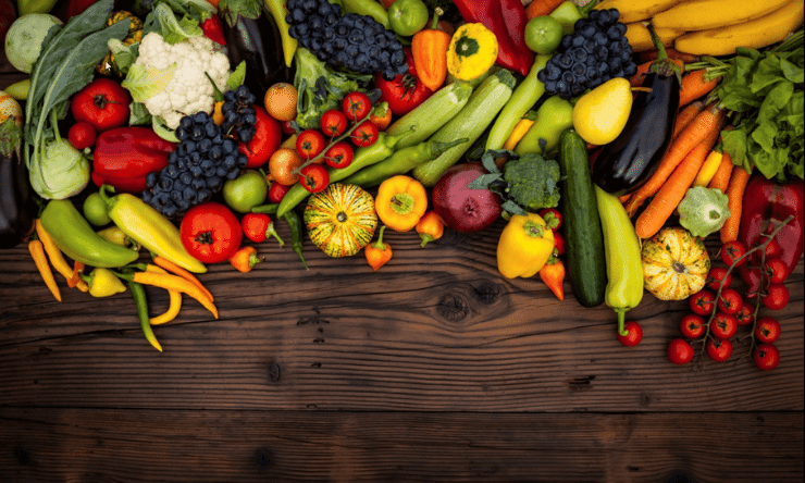 Fresh and colourful fruit and vegetables
