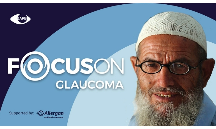 Image of Muslim man wearing a taqiyah and glasses with text that reads 'Focus on Glaucoma'