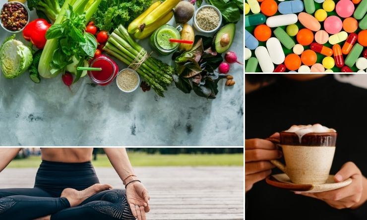 Images of Coffee, fresh food, sitting yoga pose and medication