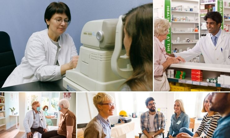 Composite image of a person having an eye test, a person at a pharmacy, a support group meeting, and a man at a doctor's appointment.