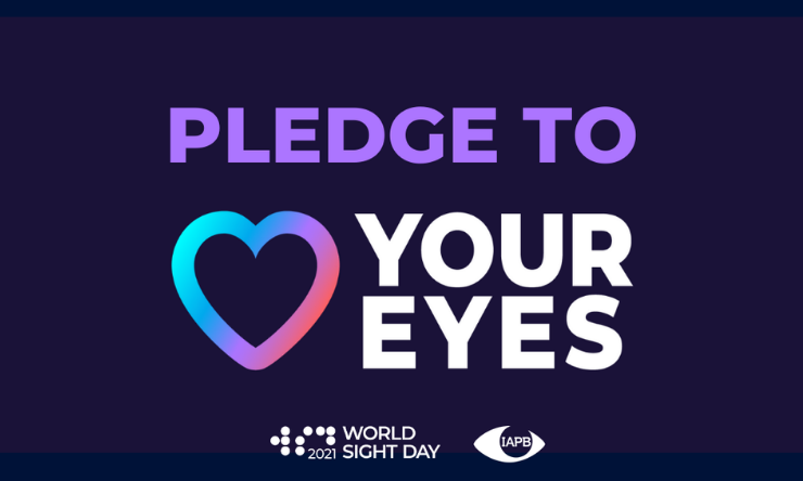 Logo with love heart reads Pledge to Love Your Eyes