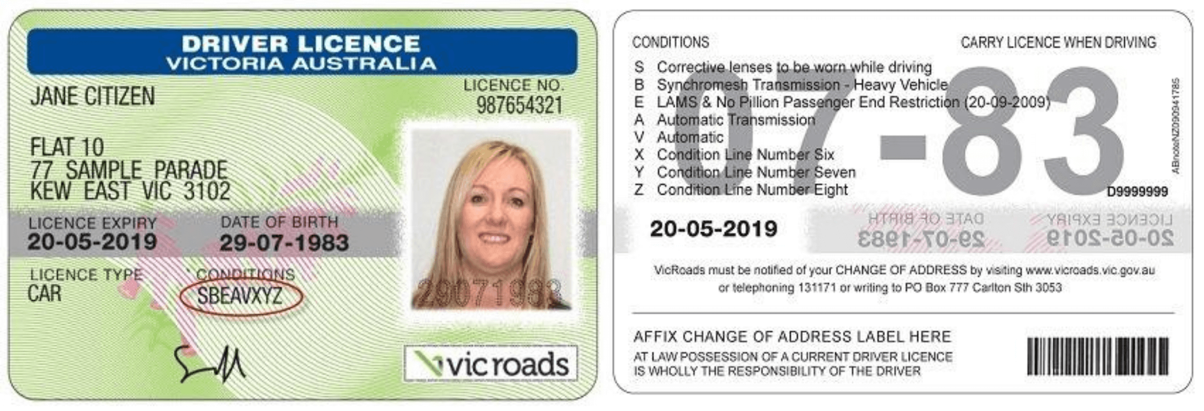 Sample VicRoads drivers licence showing conditions printed on the front and back