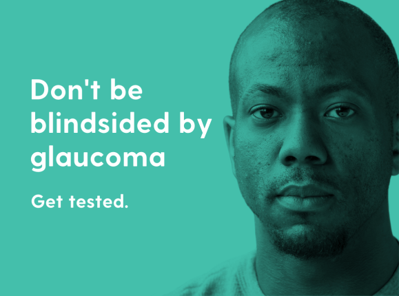 African man with headline 'Don't be blindsided by glaucoma'