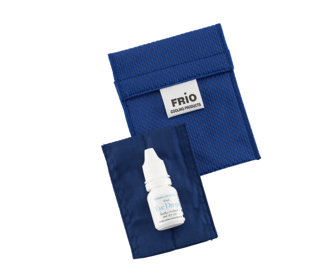 Blue mini FRIO eye cooling wallet can store 1 eye drop bottle