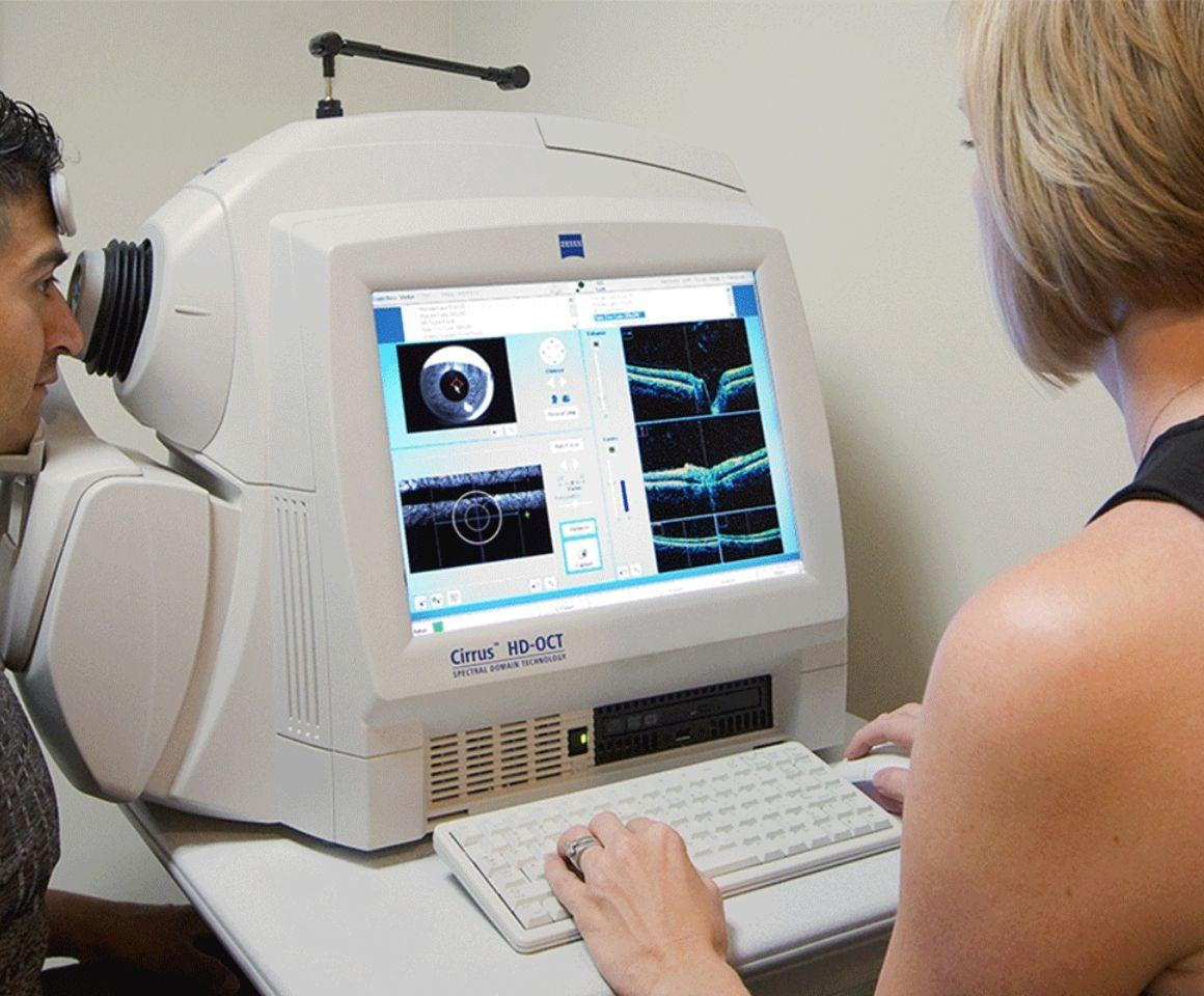Image of patient getting OCT scan