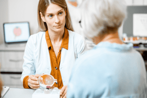 Female ophthalmologist showing the eye model to a senior patient during a consultation